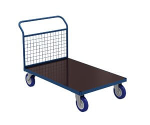 Platform trolley PT with one handle made of wire mesh